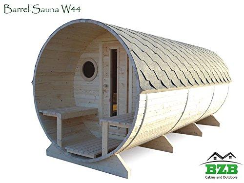 Bzbcabinscom Barrel Sauna Kit W44 6 Person Outdoor Sauna With Harvia M3 Wood Burning Heater