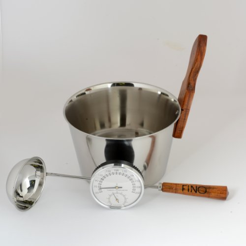Luxury Finnish Sauna Bucket In Stainless Steel Matching Ladle And Thermometerhygrometer Kit