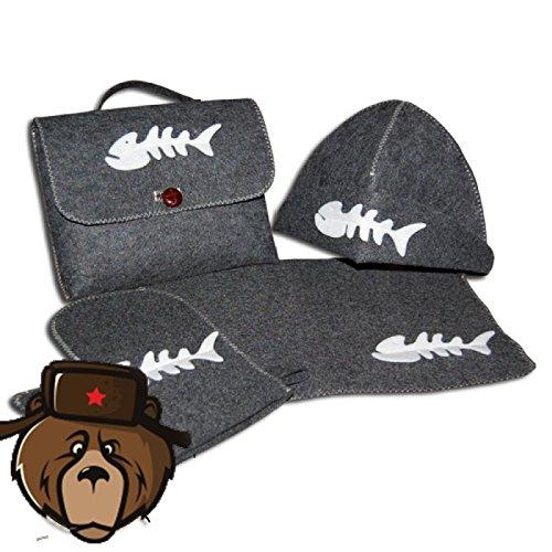 RussianBear Gray Wool Mixture Kit For Russian Banya And Sauna Bag Glove Hat And Mat Fisherman