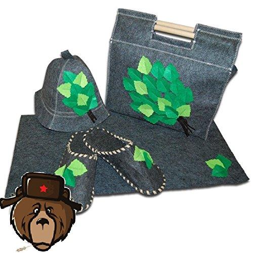 RussianBear Gray Wool Mixture Kit For Russian Banya And Sauna Bag Glove Hat Slippers And Mat Birch