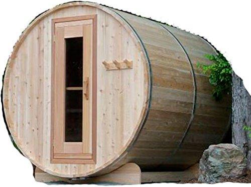 WellnessBARREL 4-Person 7ft Outdoor Cedar Barrel Sauna 6kW Electric