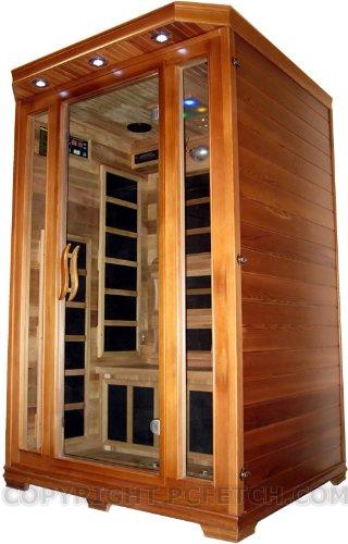 2 Person Sauna Red Cedar Wood Carbon Fir Far Infrared Wall Heaters Plus Ceramic Floor Heater Cd Player Ipodmp3