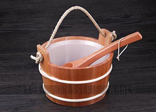 Waterproof 5L Red Cedar Sauna Bucket And LadleDipper With Plastic Linner