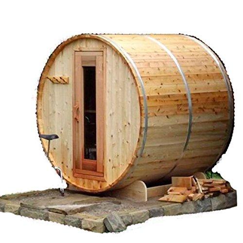 Wellnessbarrel 4-person Outdoor Cedar Barrel Sauna 6kw Electric