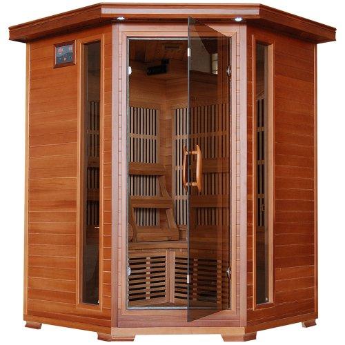 3-person Cedar Corner Infrared Sauna W 7 Carbon Heaters