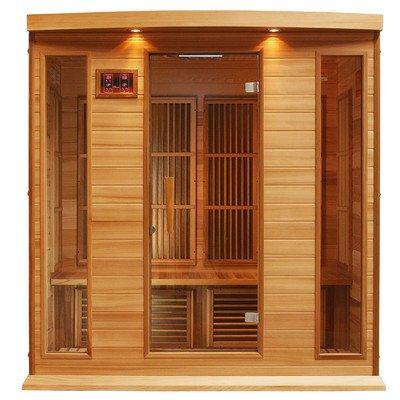 Maxxus 4 Person Corner Low Emf Far Infrared Carbon Heater Sauna cedar Edition Red