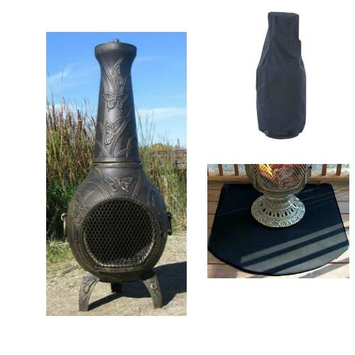 Blue Rooster Butterfly Style Wood Burning Outdoor Metal Chiminea Fireplace Gold Accent Color With Large Cover