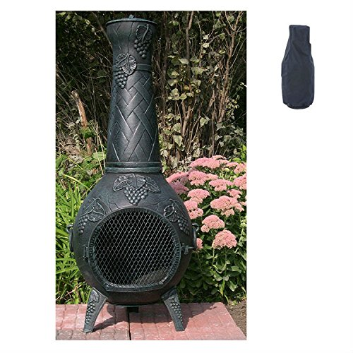 Blue Rooster Grape Style Wood Burning Outdoor Metal Chiminea Fireplace Antique Green Color With Large Black Cover