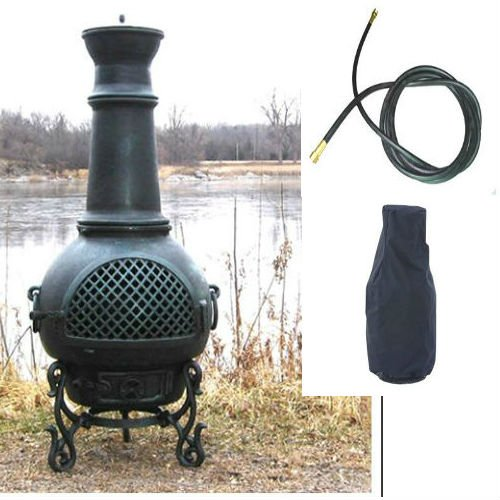 Blue Rooster Gatsby Model Antique Green Color Natural Gas Outdoor Metal Chiminea Fireplace With 20 Ft Gas Line