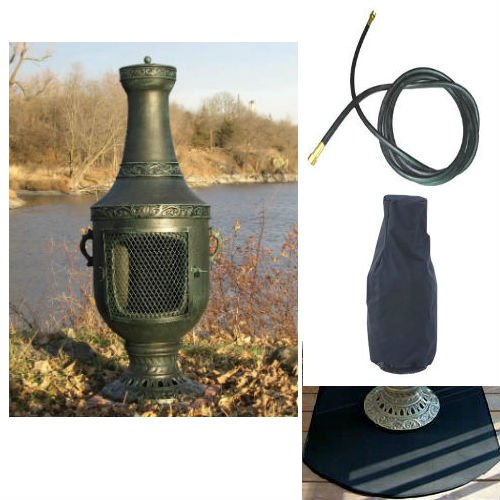 Blue Rooster Venetian Model Antique Green Color Propane Gas Outdoor Metal Chiminea Fireplace With 10 Ft Gas Line