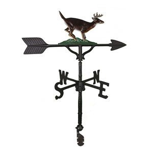 Montague Metal Products 32-Inch Weathervane with Satin Black Buck Ornament