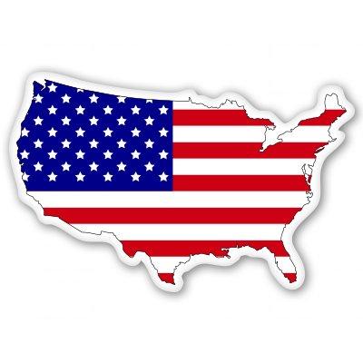 American Flag Map Usa Patriotic Vinyl Sticker - Select Size