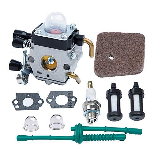 HOODELL Adjustable FS55 Carburetor Easy-Start FS 55 Carb with Rebuild Kit Premium FS55R FS45 Carburetor for ZAMA STIHL String Hedge Trimmer Weed Eater Parts with Fuel Line Kit