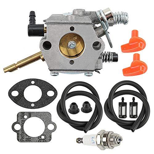 Mckin WT-45 Carburetor  Fuel Filter Line  Spark Plug fits Stihl FS48 FS52 FS62 FS66 FS81 FS86 FS88 FS106 H24D BR400 Trimmer Weed Eater Parts 4126 120 0600 4126 120 0610
