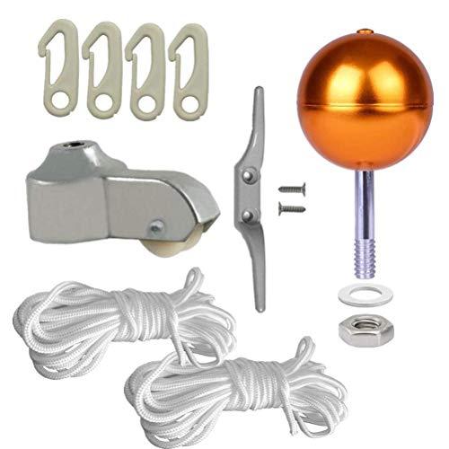 PISSION Flagpole Hardware Repair Kits - 3 Gold Ball  2pcs 46ft Flag Halyard Rope  4 Cleat Hook  4pcs Flag Clip HooksHex NutsFlat WashersFlagpole Truck for 2 Top