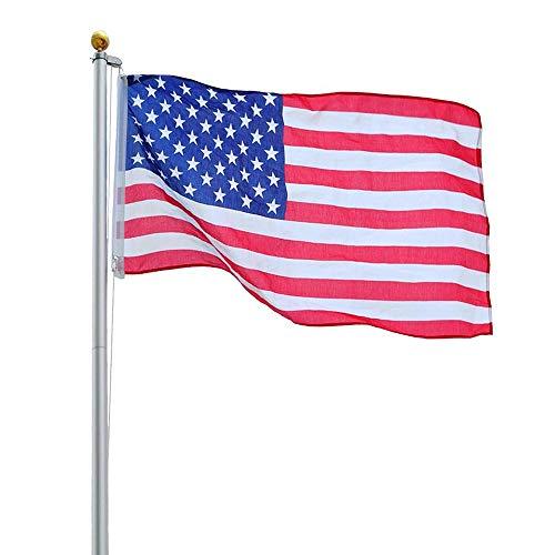 Yeshom 20ft Aluminum Sectional Flagpole Kit 3x5 US American Flag Gold Ball Kit Hardware Outdoor Garden Halyard Pole Renewed