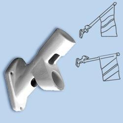 White Cast Iron 2-Way Flagpole Bracket Fits 1 in Diameter Poles Fits 1 in Diameter Poless