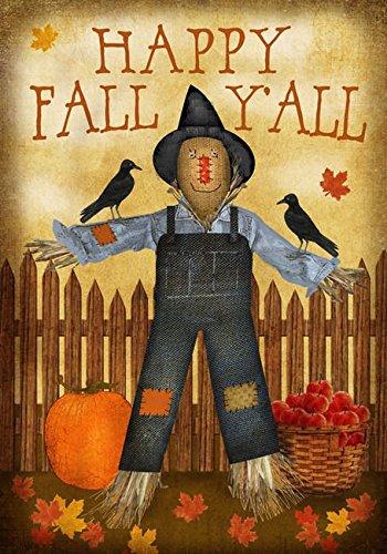 Happy Fall Yall Garden Flag Decorative Scarecrowamp Crow Fall Autumn 125&quot X 18&quot