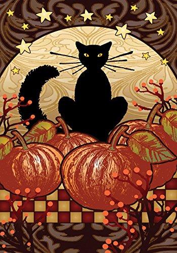 Toland - Moonlight Cat - Decorative Black Pumpkin Halloween Fall Spooky Usa-produced Garden Flag