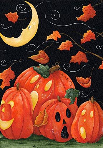 Toland - Scary Night - Decorative Spooky Jack O Lantern Pumpkin Halloween Usa-produced House Flag
