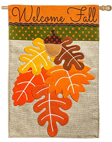 Evergreen Welcome Fall Leaf Bouquet Burlap House Flag 28 X 44 Inches