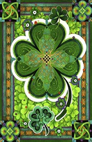 Shamrocks St Patricks Day House Flag Clovers Irish Green 28 x 40