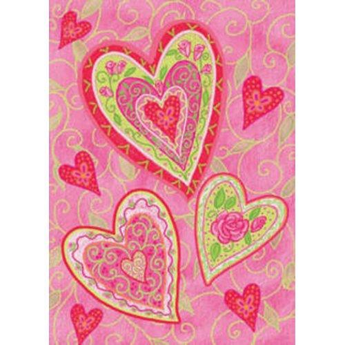 Toland Home Garden Lovely Hearts 28 x 40-Inch Decorative USA-Produced House Flag