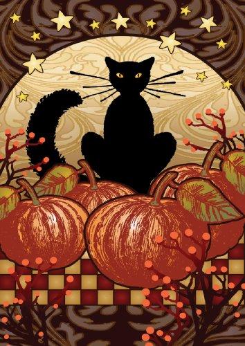 Toland - Moonlight Cat - Decorative Black Pumpkin Halloween Fall Spooky Usa-produced House Flag
