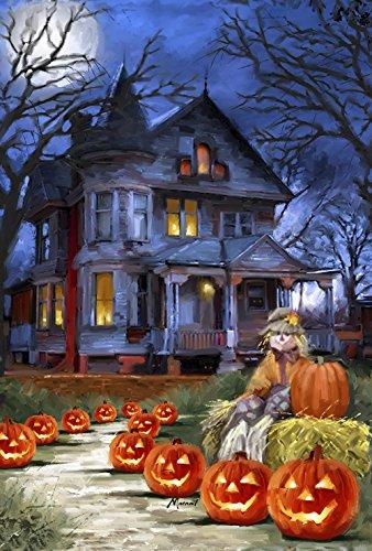 Toland - Spooky Manor - Decorative Halloween Fall Jack O Lantern Pumpkin Usa-produced House Flag