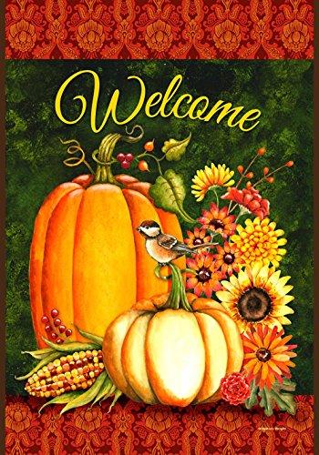 Toland - Welcome Gourds - Decorative Harvest Fall Autumn Pumpkin Flower Usa-produced House Flag