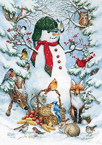 Toland - Woodland Snowman - Decorative Peace Winter Animals Snow Forest USA-Produced House Flag