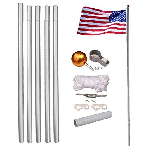 LEMY Flag Pole Aluminum Sectional Flagpole Kit Outdoor Halyard Pole W 3x5 US FlagTop BallIn-Ground Pole and Hardware 16ft