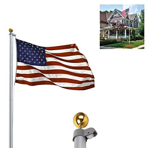 LHONE PVC Sleeve 20FT Aluminum Sectional US Flagpole Halyard Pole Kit Telescoping America Flag wGold Ball Finial 20ft Flag Pole Kit for House