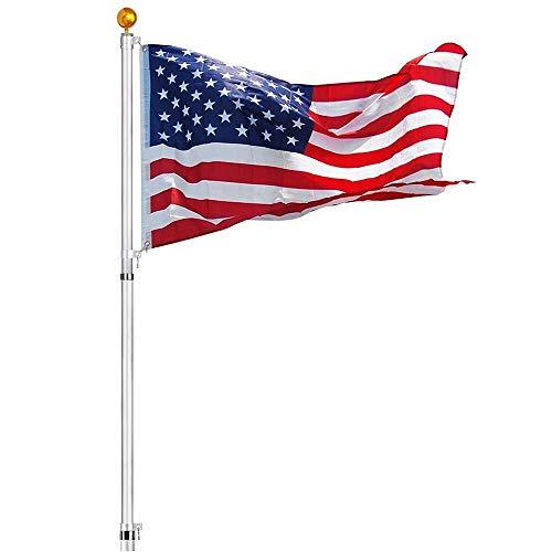 n-bright shop Kit US Flag Ball 2 Flag 25feet Flag Pole Telescopic Aluminum Flagpole Halyard Fly