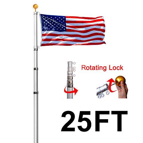 Lomejor 25FT Telescoping Flagpole with 3 feet x 5 feet US Flag Ball Top Kit 16 Gauge Telescopic Aluminum Flag Pole