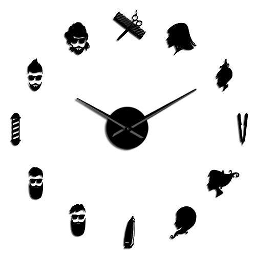 JSGJZY Barber Pole Shears Beauty Salon DIY Wall Art Giant Wall Clock Big Needle Frameless Barbering Shop Hairdressing Large Wall Watch