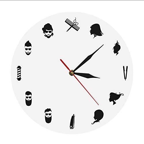 mubgo Wall Clocks Barber Shop Wall Art Decor Wall Clock Watch Modern Design Pole Shears Beauty Salon Clock Wall Unique Gift for Hairdresser