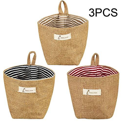 Acronde 3PCS Mini Hanging Storage Bag Cotton Linen Small Storage Basket Collapsible Convenient Decor Bin Bag for Room Wall Door Closet Stripe
