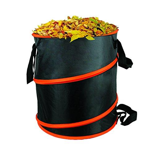 The Elixir Deco 10 gallon Gardening Bag Pop Up Collapsible YardLawn Leaf Refuse Bag Container 164 x 155 BlackOrange