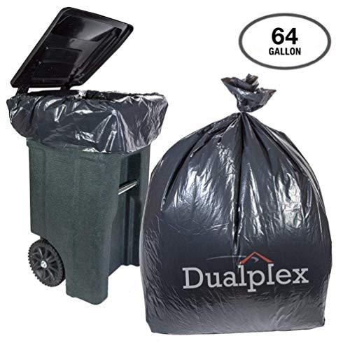 Dualplex 64-65 Gallon Black Trash Bags for Toter 15 Mil Garbage Bag 50 Bags Per Case 50 X 60