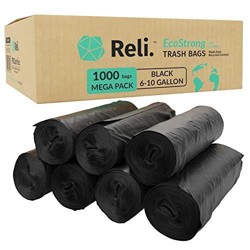 Reli EcoStrong 6-10 Gallon Trash Bags 1000 Count Bulk Eco-Friendly Recyclable - 6 Gallon - 10 Gallon Black Garbage Bags Made of Recycled Material Black Garbage Bags 8 Gallon 6-10 Gal Capacity
