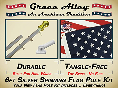 Grace Alley Wind Resistant  Rust Free Aluminum Flag Pole Kit Bundle with US Flag Flagpole and Flagpole Bracket 6-Feet Silver