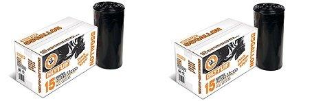 Contractor Trash Bags 55 Gallon Drum Liner Flat Cut Top Superior Strength Black 30 Mil 15 Count - Bilt-Tuf 2-Pack