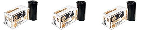 Contractor Trash Bags 55 Gallon Drum Liner Flat Cut Top Superior Strength Black 30 Mil 15 Count - Bilt-Tuf 3-Pack