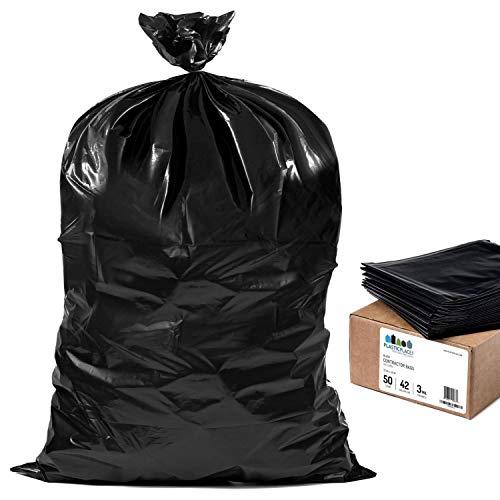 Plasticplace Contractor Trash 42 Gallon │ 30 Mil │ Black Heavy Duty Garbage Bag │ 33 x 48 50 Count