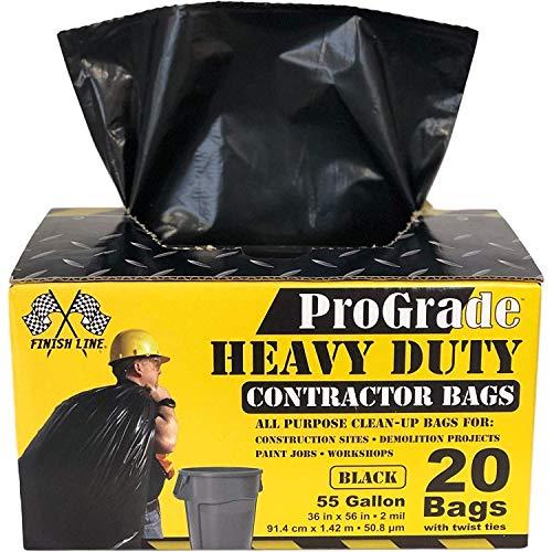 Reli ProGrade Contractor Trash Bags 55 Gallon 20 Bags wTies Black 55 Gallon Trash Bags Heavy Duty Garbage BagsConstruction Bags 2 mil 55 Gallon - 60 Gallon Black