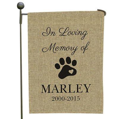 Pet Memorial Personalized Burlap Garden Flag 18H x 12 W Polyester