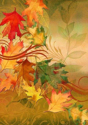 Toland - Autumn Aria - Decorative Leaves Fall Orange Yellow Usa-produced House Flag
