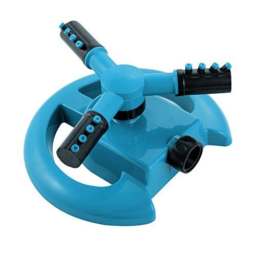 ENROSE Lawn Sprinkler 3-Arm 360-Degree Rotation Water Sprinkler Durable Effective Lawn Garden Sprinkler System BLUE