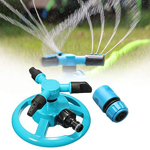 Garden Sprinklers - K Ing Do Way 360 Fully Circle Rotating Water Sprinkler Garden Pipe Hose Irrigation 3 Nozzles Blue - System Sprinklers Pump Sprinkler Accessories Protector Small Underg